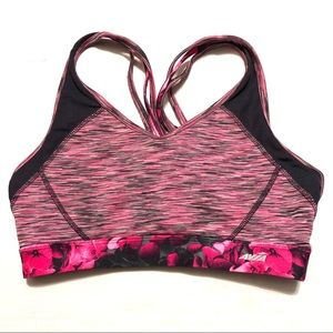 Avia Space Dyed/Mesh/Floral Strappy Sports Bra M